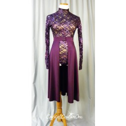 Purple Long Sleeve Lace Leotard with Nude Lining and Long Back Skirt - Size AS