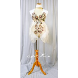 Nude Lace and Chiffon Mock-Neck Fly-Away Top with Trunks - Swarovski Rhinestones - Size AM