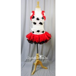 White/Black Sequin & Beaded Crop Top & Skirt with Red and Black Ruffles - Size YS