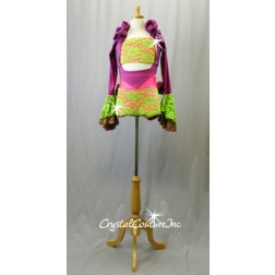 Vibrant Coral/Green/Purple Top, Booty Shorts and Long Sleeve Shrug - Swarovski Rhinestones - Size AXS