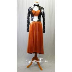 Burnt Orange/Black 1-Piece Dress with Lace Bodice/Sleeves and Long Mesh Skirt - Size AM