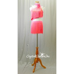 Bright Orange and Pink Connected Top & Skirt with Fringe - Rhinestones - Size YM