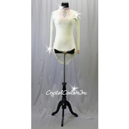 Ivory Long Sleeve Lycra & Sheer Mesh Leotard with Pink Lace & Short Back Skirt - Rhinestones - Size AS