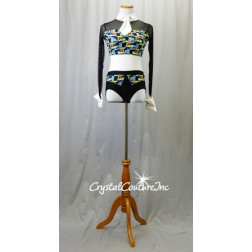 Black/Multi-Color L/S Top and Trunks with White Tie and French Cuffs - Size AM