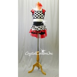 Black/White Polka Dot Top and Booty Shorts/Skirt with Red Accents - Rhinestones - Size AXS