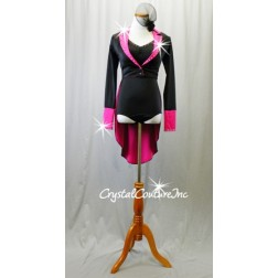 Black Leotard and Black/Pink Tuxedo Jacket with Tails - Swarovski Rhinestones - Size AXS