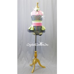 Lime/Pink/Black with Silver Polka Dots Top & High-Waisted Trunks/Skirt - Swarovski Rhinestones - Size YM