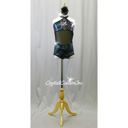 Black Lace/Sequin Leotard with Turquoise Blue Top & Trunk- Swarovski Rhinestones - Size YL