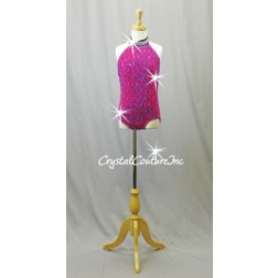 Custom Black/Fuchsia Textured Leotard with Open Back - Swarovski Rhinestones - Size YM