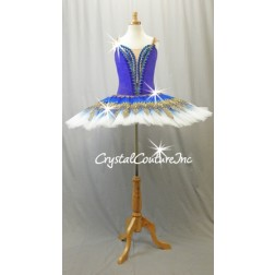 Royal Blue, Teal Blue & White Platter Tutu with Gold Accents - Swarovski Rhinestones - Size AXS
