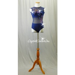 Navy Blue Leotard with Sheer Mesh and Floral Appliques - Swarovski Rhinestones - Size AS