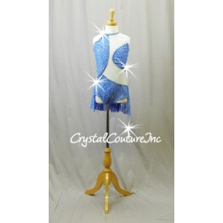 Lt Blue Lace and Mesh Leotard with Back Skirt - Swarovski Rhinestones - Size YM