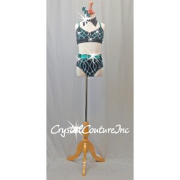 Dark Teal Blue and Black Connected 2 Piece Top and Trunk - Swarovski Rhinestones - Size YM
