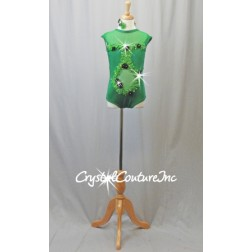 Kelly Green Lycra and Sheer Mesh Leotard with  Appliques - Swarovski Rhinestones - Size YL