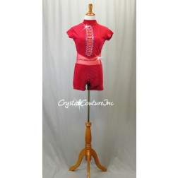 Red Textured Velour Mock-Neck Bike-a-Tard with Mesh Detailing - Swarovski Rhinestones - Size AM
