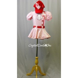 Pink Zsa Zsa Sequin Dress with Red trim and Baseball Patch - Swarovski Rhinestones - Size YM