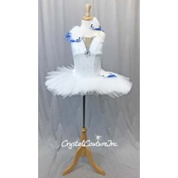 White Soft Platter Tutu w/Attached White Leotard - Swarovski Rhinestones - Size YM