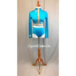 Turquoise Long Sleeve Crop Top and Trunks with Nude Insets - Swarovski Rhinestones - Size AL