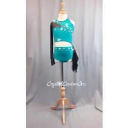 Turquoise and Black Sheer Mesh Top and Trunk/Side Skirt - Swarovski Rhinestones - Size YM