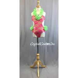 Hot Pink Floral Lace Leotard with Lime Green Accents - Swarovski Rhinestones - Size YM