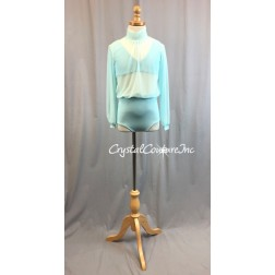 Aqua Blue Blouson Style Long Sleeve Leotard with Lycra Top and Trunk - Size YL