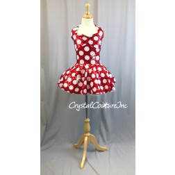 Red & White Polka Dot Halter Dress with Sequins - Rhinestones - Size AXS