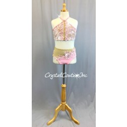 Lt Pink Embroidered Top and Lycra Trunk with Sheer Nude Mesh Insets - Swarovski Rhinestones - Size AXS