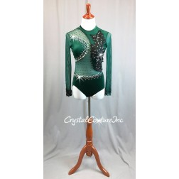 Forest Green Velour and Sheer Mesh L/S Leotard - Black Appliques - Rhinestones - Size AS