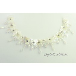 White/Iris Sequin, Rhinestone and Dangling Bead Applique