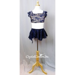Navy Blue Lace Crop Top and Skirt with Trunks - Size AXS