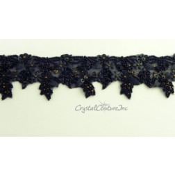 Black/Gold Beaded & Sequin Trim