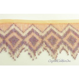 Lt Pink/Peach and Lt Amethyst AB Beaded Fringe Trim