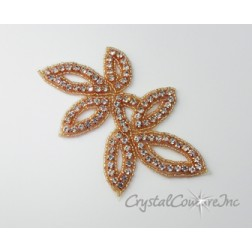 Crystal Rhinestone/Champagne/Rose Gold Beaded Applique