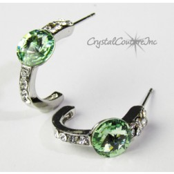 Chrysolite 8mm Rivoli Post Earrings with Rhinestone Half Hoop