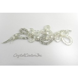 Silver/Crystal Iris Sequin/Beaded Pearl Rhinestone Applique