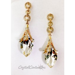 "Crystal/Gold Navette Rhinestone 3"" Earring with Small Circles"