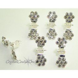 Crystal Rhinestone Flower Hair Mini Claw Clips