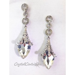 "Crystal/Silver Navette Rhinestone 3"" Earring with Small Circles"