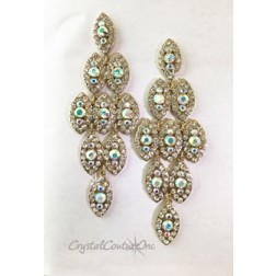 "Crystal/Gold with Crystal AB Center Rhinestones 4"" Dangle Earring"