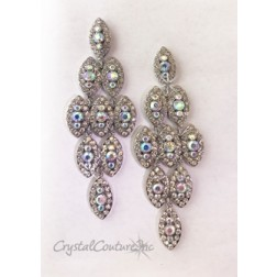 "Crystal/Silver with Crystal AB Center Rhinestones 4"" Dangle Earring"