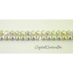 Crystal AB 2 row rhinestone 20ss banding - by the inch