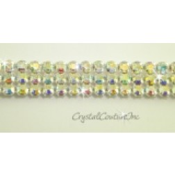 Crystal AB 3 row rhinestone 20ss banding - by the inch