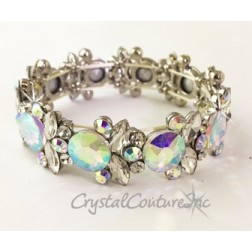 Crystal AB Rivoli and Crystal Navette rhinestone Stretch Bracelet