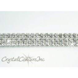 Crystal 3 row rhinestone 20ss banding - by the yard