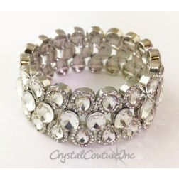 Crystal/Silver Pear and Oval Shape Rhinestone Stretch Bracelet