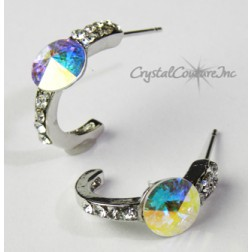 Crystal AB 8mm Rivoli Post Earrings with Rhinestone Half Hoop