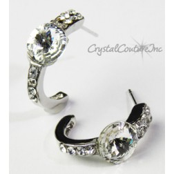 Crystal 8mm Rivoli Post Earrings with Rhinestone Half Hoop