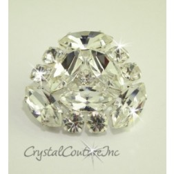Crystal/Silver Rhinestone Button