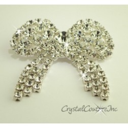Crystal Rhinestone Bow Shape Dangle Embellishment
