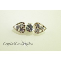 Crystal/Silver Rhinestone Double Heart Button
